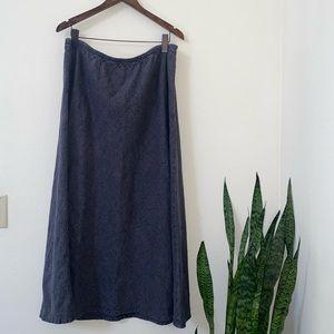 Flax- 100% linen gray textured maxi skirt